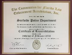 Surfside PD CFA Recertification Acknowledgment