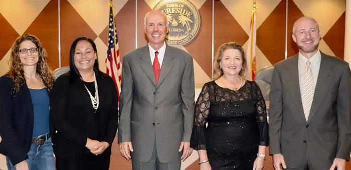 From Left to Right: Eliana R. Salzhauer, Commissioner; Nelly Velasquez, Commissioner; Charles W. Burkett, Mayor; Tina Paul, Vice Mayor; Charles Kesl, Commissioner
