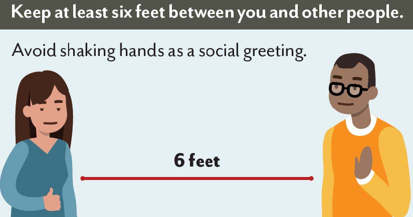 Image shows two people keeping at least 6 feet of distance between them. With text stating: Keep at least six feet between you and other people. Avoid shaking hands as a social greeting.